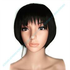 New BOB style Straight JET BLACK short Women Wig disco party cosplay with Bang