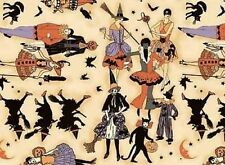 Fat Quarter Halloween Witches Cotton Quilting Fabric  50cm x 55cm  Red Rooster
