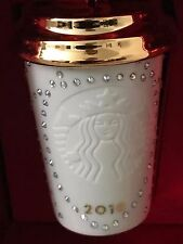 NEW Starbucks 2016 WHITE & GOLD Swarovski Xmas Christmas ornament NEW!