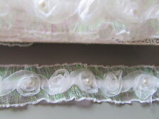 White Sparkle & Pearl Organza Rose Trim x 1 metre Sewing/Costume/Crafts/Corsetry