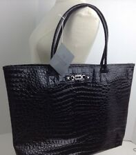 NWT Large BECKHAM Signature Black Pebbled Tote Bag