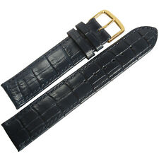 17mm Mens Fluco Kroco Blue Crocodile-Grain Leather GOLD Buckle Watch Band Strap