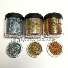 AUTH LE MAC Pro Glitters SAMPLE set of three, 1/4tsp! Gold, 3D Gold, 3D Silver