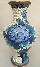 Vintage Chinese Cloisonne White w Blue Flower Vase Cherry Blossoms Copper
