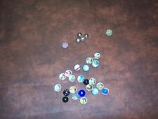 LOT OF VINTAGE MARBLES - 1 HALF MARBLE - 4 STEEL BALLS - USED
