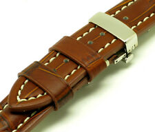 22mm Brown Leather Contrast Stitch Crocodile Grain Watch Strap Butterfly Clasp