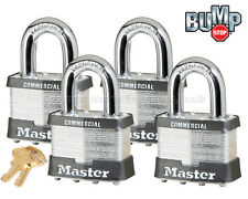"""Master Lock 2""""W Padlock - 1-1/8""""L Shackle, (4) Keyed Alike Locks 17NKA-4"""
