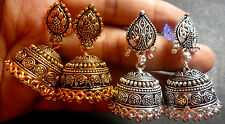 Combo 2 Pairs Antique Gold & Silver Plated 3 cm Ball Drop Indian Jhumka Earrings
