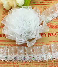 New 5 yards 2-Layer 30mm Width White organza Lace Gathered Pleated Sequined Trim