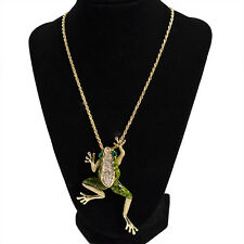 Green Enamel Crystal Jumpping frog necklace Jewelry  Long Chain Pendant Gift