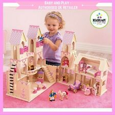 KIDKRAFT WOODEN PRINCESS CASTLE DOLLHOUSE - INCLUDES DOLLS, HORSES & FURNITURE