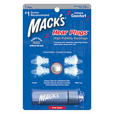 MACKS(MACK'S) HEAR PLUGS, MUSICIANS EARPLUGS SOUND ATTENUATION + ALUMINIUM CASE