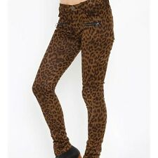 UNIF Leopard Zip Faux Suede Jeans from NastyGal size 26 NWT