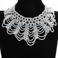 Fashion Handmade White Pearl Beads Cluster Hollow Out Collar Choker Necklace