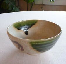 #20 Japanese Chawan,  Oribe Yaki, Ceramic Tea Bowl