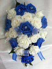 BRIDES TEARDROP BOUQUET , Wedding Flowers Ivory & Royal Blue roses