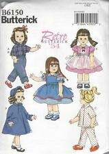 "BUTTERICK SEWING PATTERN RETRO 1954 18"" DOLL CLOTHES PANTS DRESS COAT B6150"