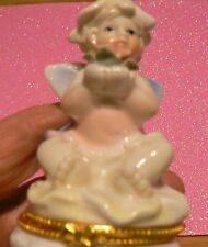 PRE-OWNED  ANGEL WITH FLOWER CERAMIC HINGED TRINKET OR ROSARY HOLDER
