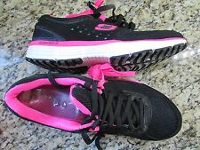 NEW SKECHERS AGILITY PERFECT FIT SHOES WOMENS 9 LIGHTWEIGHT SPORT  BLACK/PINK