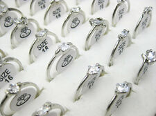 Wholesale Mixed Lots Jewelry 20pcs Zirconia Silver Plated Women's Rings J30