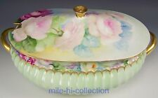 """1880 LIMOGES HAVILAND HAND PAINTED ROSES 13"""" SOUP TUREEN"""