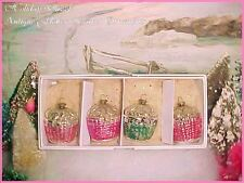 Romantic Antique Vtg Feather Tree Glass Pink Flower Basket Christmas Ornaments