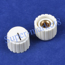 "2pcs Control Knob With Point Guitar Pedal Eeffect Amp Amplifier 1/4"" Cream/White"