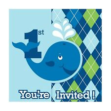 8 Ocean Baby Whale Happy 1st Birthday Party invite invitations cards