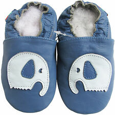 shoeszoo soft sole leather shoes elephant blue 18-24m S1