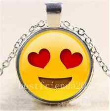 Heart Eyes Emoji Photo Cabochon Glass Tibet Silver Chain Pendant Necklace