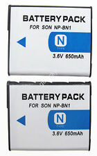 2xBattery Pack for Sony NPBN1 NP-BN1 N Type 650mAh Brand New Rechargeable