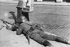WW2 - Belgique - Soldat allemand derrière son fusil-mitrailleur