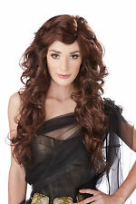 Adult Long Curly Wavy Brunette Pin Up Seduction Allure Costume Wig