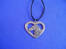 Borzoi Wolfhound Heart necklace #17G Pewter Dog Jewelry by Cindy A. Conter