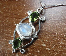 Blue Moonstone Faceted Peridot 925 Sterling Silver Pendant Green New