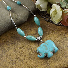 Women Vintage Women Blue Turquoise Silver Plated Elephant Pendant Necklace Gift