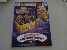 BUBBA'S EXCATION COMPANY   arcade game flyer