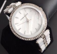 Ladies Genuine Anne Klein Ceramic White Designer Dress Watch Mop Dial Diamond