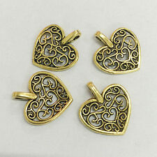 30pcs dark gold tone 2sided hollow floral heart charms h0239