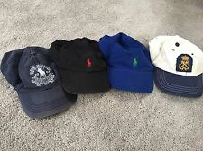 LOT of 4 Polo Ralph Lauren polo player hats Blue Red Black Green