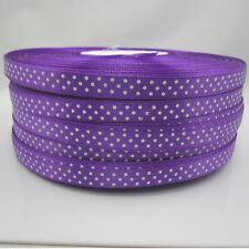 New hot 10 Yards Charm 3/8 9mm Polka Dot Ribbon Satin Craft Supplies  Purple#4