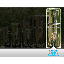New Crown Berkey Water Filter System w/ 2 Black Berkey Elements & 2 PF2 Filters