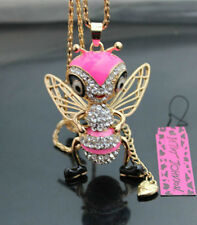 H553F  Betsey Johnson Crystal Enamel Queen Bee Pendant Necklace