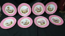 8 rare hand painted cabinet plates  AYNSLEY scenes loch achray -1880 pink border