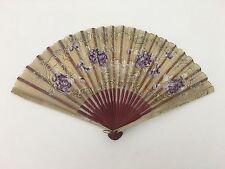 Antique Delicate Paper Woman's Hand Held Fan Purple Floral Design