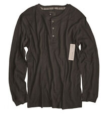 Perry Ellis - Men's L - NWT - Solid Black Cotton Blend Thermal Henley Shirt