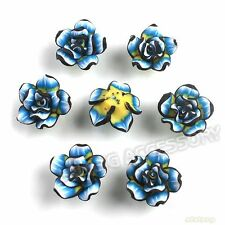30pcs Wholesale Black&Blue Flowers Rose Charms FIMO Polymer Clay Beads 20mm L