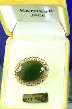 VINTAGE KANIERE NEW ZEALAND 9CT GOLD JADE PIN IN ORIGNAL BOX