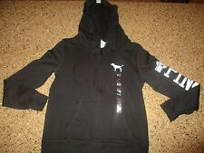 VICTORIA'S SECRET PINK   FULL ZIP HOODIE SWEATSHIRT JACKET BLACK Sz M NWT