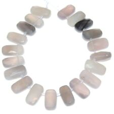 20 NATURAL Gray Agate Flat Rectangle Side Drilled Beads 8x16mm K1016